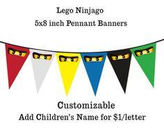 Lego Ninjago Printable Banner Pennants Designdream Gift Giving On Ninjago Party, Lego Ninjago, Festa Ninja Go, Ninja Birthday Parties, Legos, Custom Birthday Invitations, Printable Banner, Cake Ideas, Live