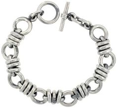 Sterling Silver Doughnut Circles Link Bracelet w/ Toggle Clasp 1/2 inch (14 mm) wide, 8 inch long Sabrina Silver. $393.00