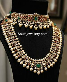 22 Carat gold antique kundan choker and polki diamond south sea pearl haram by Hazoorilal jewellers. choker designs, polki diamond haram models, latest gold haram models, Indian jewellery designs, latest necklace models in 22 carat gold