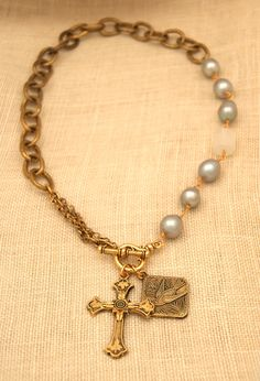 18″ Jessica Necklace with Gray Pearls, Felder Cross