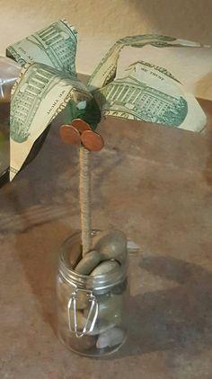 money origami palm tree Hawaiian gift