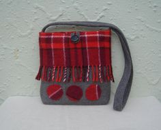 Upcycled wool blanket bag, made by Freedom Arts