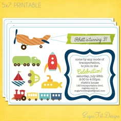 Transportation Party Invitation, Planes, Trains and Automobiles Invitation - 5x7 Printable. $12.00, via Etsy.