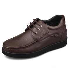 Lightweight taller casual shoes get height 6cm / 2.36inch brown driver shoes