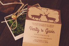 Woodland inspired wedding invites #rustic #invitations #moss