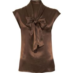 Lanvin Cap Sleeve Blouse - Brown size 42 featuring polyvore fashion clothing tops blouses shirts brown women lanvin v-neck tops tie shirt shirts & blouses lanvin shirt
