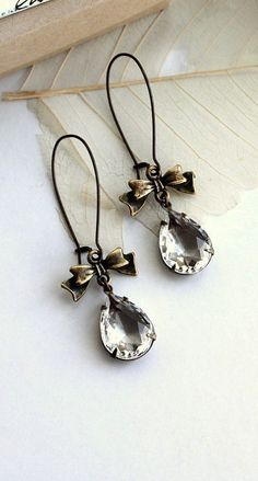 Vintage Glass Pear with Ribbon Bow Earrings. Wedding Earrings. Bridal Jewelry. Bridesmaid Gift. Rustic Wedding