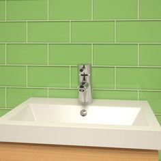"Giorbello Subway 6"" x 3"" Tile in Powder Room Green"