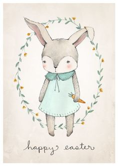 Free Printable Easter Bunny Illustration by Kelli Murray -  kellimurray.com