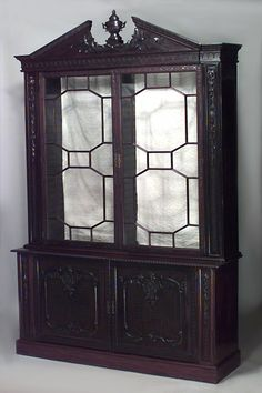 antique cabinets with glass doors | Antique Mahogany Breakfront ...
