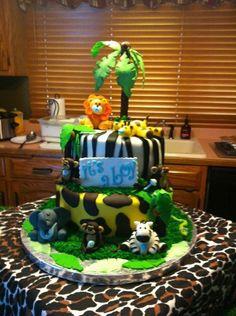 PINTEREST jungle safari baby shower decorations | Party Ideas / Jungle Safari Baby Shower Cake on Wanelo