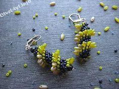 Free Beading Pattern: Swirl Earrings with Rizo Beads | Bead-Patterns.com