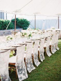 Lace wedding chairs: http://www.stylemepretty.com/2014/05/01/oh-so-classic-nautical-wedding/ | Photography: Erich McVey - http://www.erichmcvey.com/