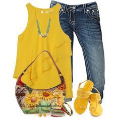 """Sunflowers & Denim"" by tufootballmom on Polyvore"