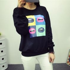 Colorful lips sweatshirt for girls cheap college sweatshirts ...