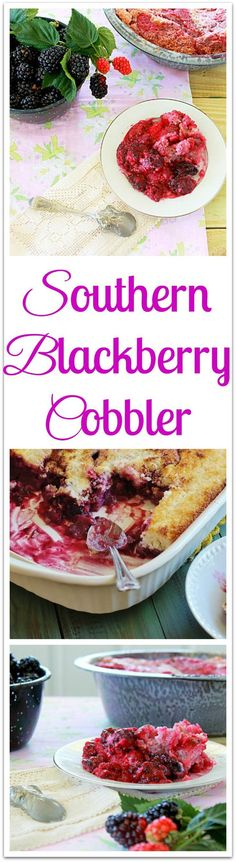 Southern Blackberry Cobbler. An iconic Southern dessert. Blackberries are gently stewed and pour over a three ingredient, biscuit like topping. #syrupandbiscuits
