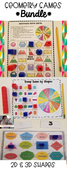 These games help students to practice naming and recognizing basic plane (2D) and solid (3D) shapes and their attributes. It can be used as a learning center, or can be copied into enough sets for an entire classroom to use. #elementary #math #geometry #2dshapes #3dshapes #planeshapes #solidshapes #mathgames #teaching