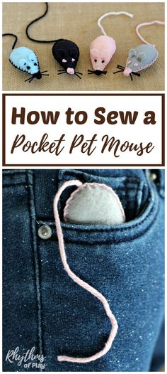 Sew a pocket pet mouse softie with the kids as a beginning sewing project! A pet mouse you can put in your pocket makes a great lovey or comfort object the kids can easily carry around with them. Send them off to day care or school for the first time, or
