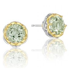 Tacori Seafoam Mint Prasiolite Round Stud Earrings ($490) ❤ liked on Polyvore featuring jewelry, earrings, green quartz jewelry, tacori jewelry, tacori, tacori earrings and mint jewelry