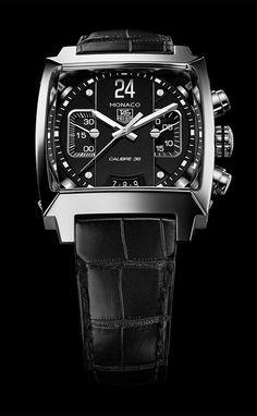 TAG Heuer & Monaco 2013 TAG Heuer the Monaco Twenty Four Calibre 36 Chronograph - 40.5mm Black Dial (PR/Pics http://watchmobile7.com/data/News/2013/07/130717-tag_heuer-MONACO_TWENTY_FOUR_CALIBRE_36_CHRONOGRAPH_BLACK_DIAL.html) #watches @Tyler Gerritsen Heuer