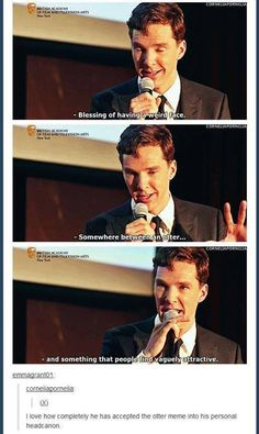 """Otterbatch. But he says """"vaguely attractive"""". He's so modest. If he only knew..."""