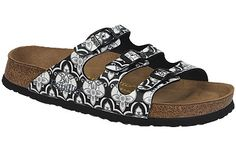 Papillio Florida Soft Footbed Chateau Black Birko-Flor Fashion forward designs in vibrant colors combine with an extra cushioned footbed in these Papillio designs. A layer of extra foam on the contoured cork footbed provides cushy softness and great arch support. #birkenstock #birkenstockexpress.com  $59