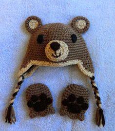 Bear baby hat & mittens set by scotako on Etsy, $20.00