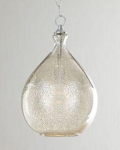 "H6CVU Mercury-Glass Pendant Light at Horchow 9"" W x 15"" H, 1 60 watt bulb, 125. bath over sink. Purchased."