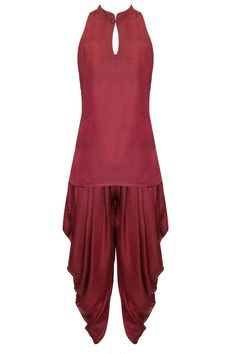 Wine dhoti kurta set available only at Pernia's Pop-Up Shop.