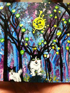 ACEO ORIGINAL PAINTING BY JOSE JUAREZ TUXEDO CAT KITTEN PUPPY FOREST MOON SUN  #OutsiderArt