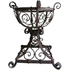 Antique Wrought Iron Oil Lamp Holder, Planter, Garden Planter Garden, Planters, Garden Inspiration, Design Inspiration, Shabby Chic Garden, Oil Lamps, Garden Furniture, Wrought Iron, Garden Design