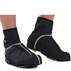 AMYIPO Unisex Bicycle Windproof Breathability Cycling Shoe Covers Zippered Overshoes Sportwear Black, L=US 8-9 * Check this awesome product by going to the link at the image.
