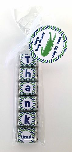10 Alligator Personalized Baby Shower Favors-Hershey Nugget Wrappers-Custom Baby Shower Favors