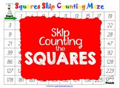 Skip Counting Maze for learning/reviewing the Squares!