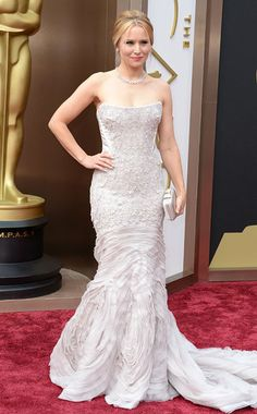 Oscars 2014 | The Frozen star wore an icy lavender strapless dress that made the most of her petite figure — with fluffy organza pleats and ...