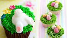 Easy Easter Decorations For Cupcakes Fondant Cupcakes, Bunny Cupcakes, Easter Bunny Cake, Easter Cupcakes, Easter Treats, Cupcake Cakes, Cup Cakes, Spring Cupcakes, Easter Food