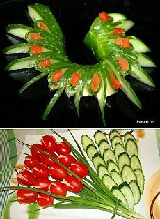 Ornament from a cucumber and tomato: master class // aneriPosts on the topic of maistas added by aneri Fruit And Vegetable Carving, Veggie Tray, Food Crafts, Diy Food, Cute Food, Good Food, Amazing Food Decoration, Food Plating Techniques, Best Party Food