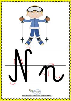 Litera Nn- plansza demonstracyjna FREEEE Montessori, Alphabet, Education, Boys, Fictional Characters, Asia, Double Deck Bed, Therapy, Baby Boys