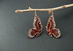 Monarch butterfly enameled earrings