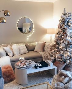 Cozy living room decorated for Christmas