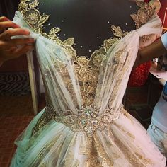 This might be one of the most beautiful gowns I have ever seen! Look at the pattern