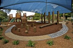 """""""Tessa Rose Natural Playspaces: As an alternative to highly priced, fixed use plastic equipment installations, timber and other natural materials are cheaper and can be used to craft physically challenging open ended play items, that can also promote spontaneous creative and  imaginative play."""""""