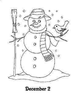 Kleurplaat - Sneeuwpop (2 december, advent)