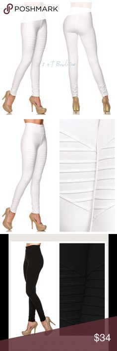NEW ARRIVAL  Ribbed Moto Leggings White Moto ribbed legging. These are super Hot this Season! The ribbed detail adds extra flare! These are a must have for your closet! Available in size.                                  Small(2/4) Medium(6/8) Large(10/12) XL(12/14).  Black is also available in my closet. TK1250232. Suzanne is modeling size small in last photo. 2 a T Boutique  Pants Leggings