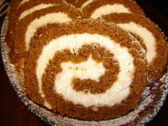 Pumpkin roll with cream cheese filling. So good!