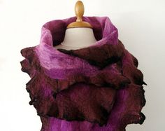Hand felted scarf - nuno felt purple, fushia and black silk and merino wool