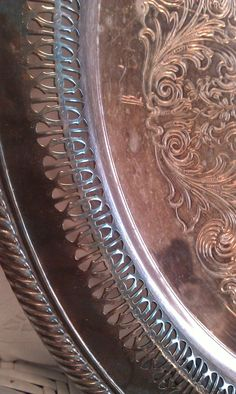 Vintage Large Ornate Filigree Silver Serving Tray