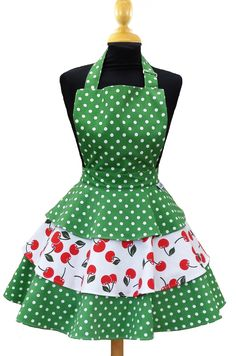 Cherry Bakes Well Green Polka Dot and Cherry Print Rara Adult Apron
