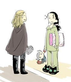I love how fast the fandom jumps on things like Tom/Loki and Cookie Monster, and now Tom/Loki in slippers on the Thor 2 set. X)