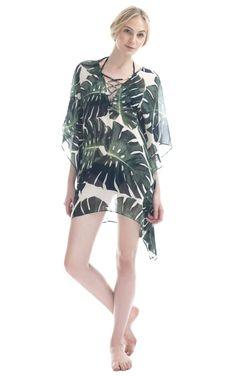 Shop Adriana Degreas Tropical Short Kaftan $630.00